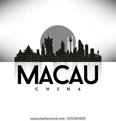 Macau China, Black Skyline Design, vector illustration. Typographic city silhouette - stock vector