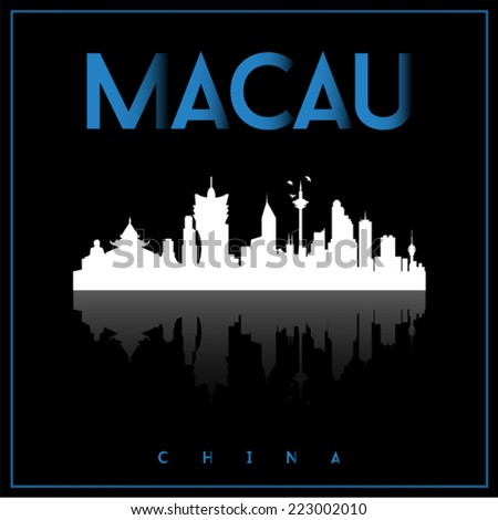 Macau, China skyline silhouette vector design on parliament blue and black background.  - stock vector