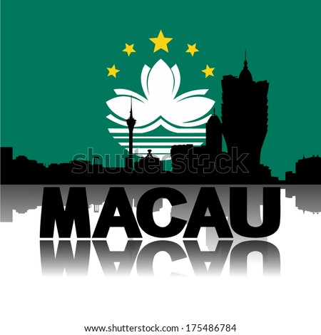 Macau skyline and text reflected with flag vector illustration  - stock vector