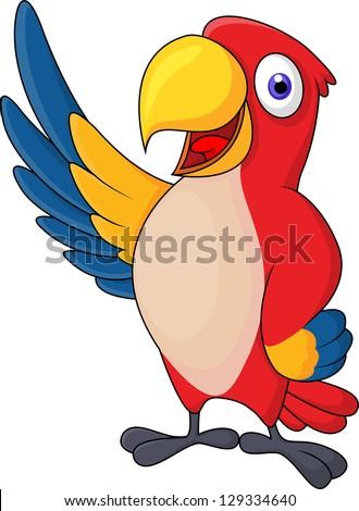 Macaw bid carton waving - stock vector