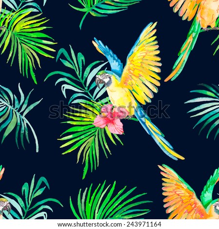 Macaw seamless pattern. Black background. Palm leaves and tropical flower. Tropical parrot. Exotic. Vector for your design. - stock vector