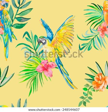 Macaw seamless pattern. Palm leaves and tropical flower and camellias. Tropical parrot. Exotic. Vector for your design.