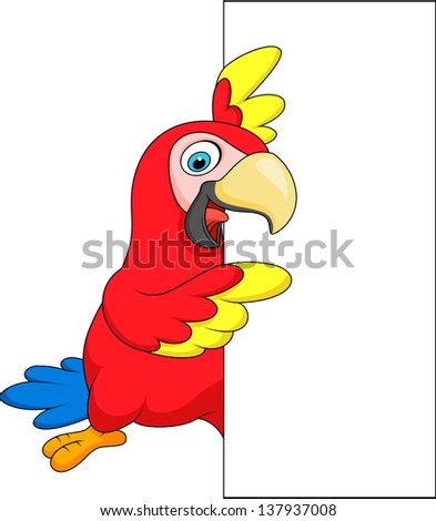 Macaw with blank sign - stock vector