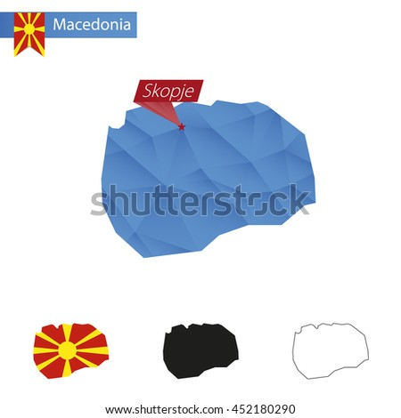 Macedonia blue Low Poly map with capital Skopje, versions with flag, black and outline. Vector Illustration. - stock vector