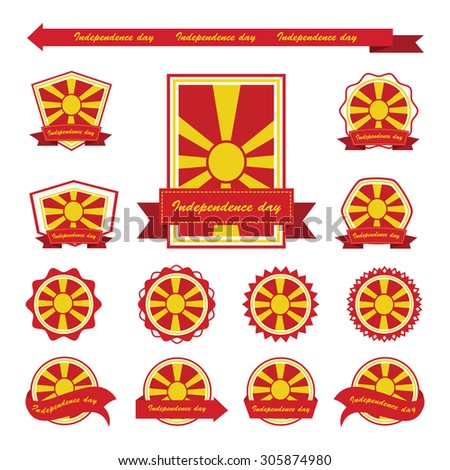 macedonia independence day flags infographic design