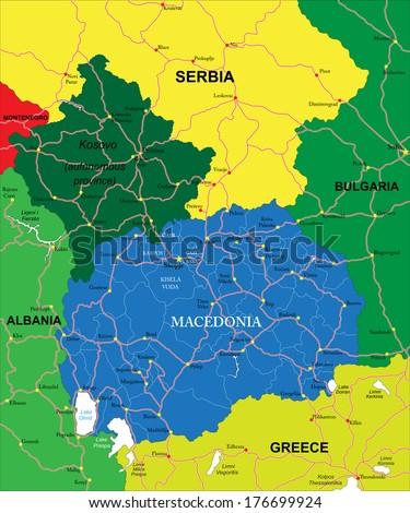 Macedonia map - stock vector