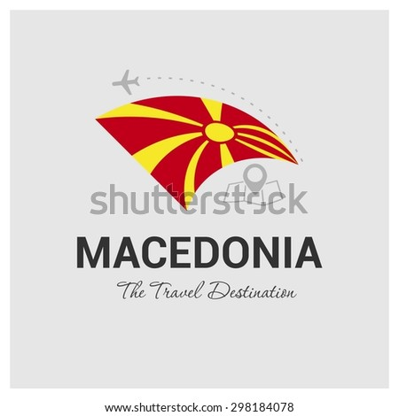 Macedonia The Travel Destination logo - Vector travel company logo design - Country Flag Travel and Tourism concept t shirt graphics - vector illustration - stock vector