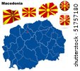 Macedonia vector set. Detailed country shape with region borders, flags and icons isolated on white background. - stock photo