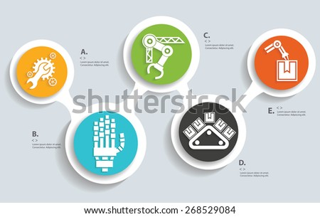 Machine and Technical on buttons, info graphic design,clean vector - stock vector