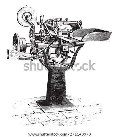Machine cigarettes, vintage engraved illustration. Industrial encyclopedia E.-O. Lami - 1875.