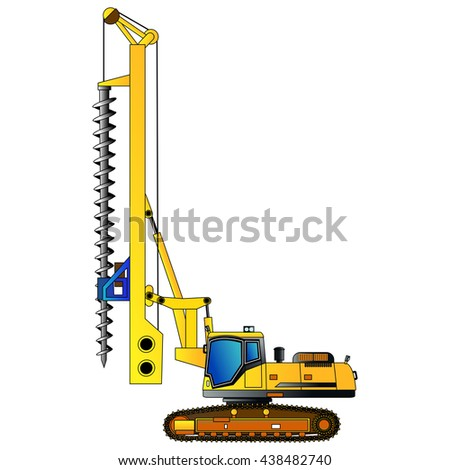 Machine for drilling holes for foundations. Vector illustration. Isolated on white. Icon. Flat style