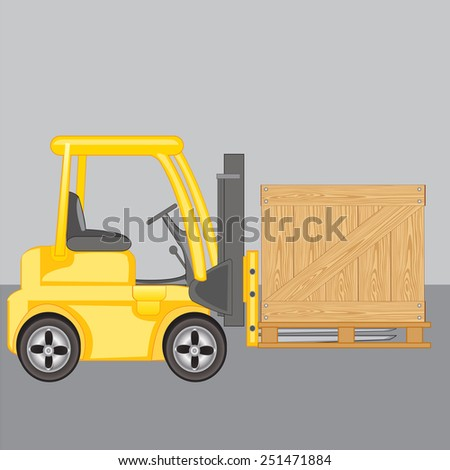 Machine for loading loads box on storehouse - stock vector