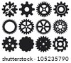 machine gear collection (cogwheel set) - stock vector
