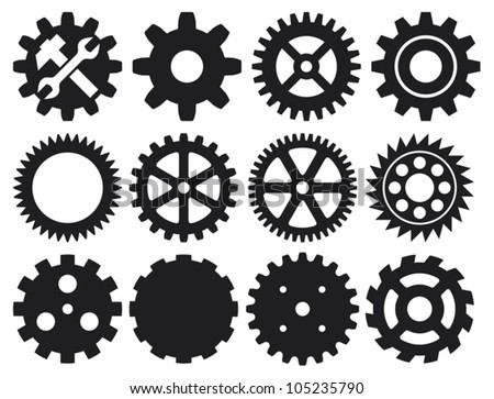 machine gear collection (cogwheel set) - stock vector