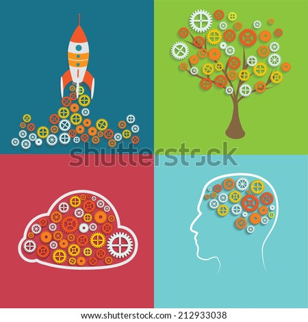 Machine Gear Wheel Cogwheel Vector set of creative images - stock vector