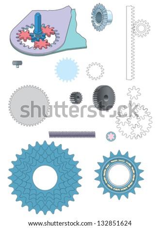 Machine gear wheels cogwheels vector image - stock vector