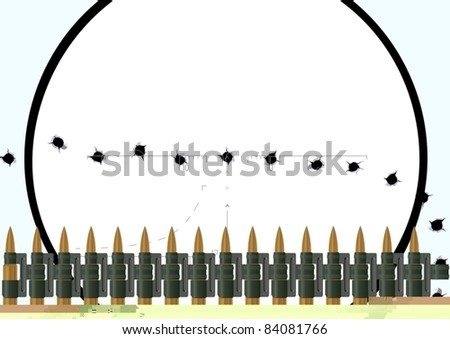 Machine-gun belt with bullets and bullet holes in the nets against a sniper scope. The illustration on white background. - stock vector