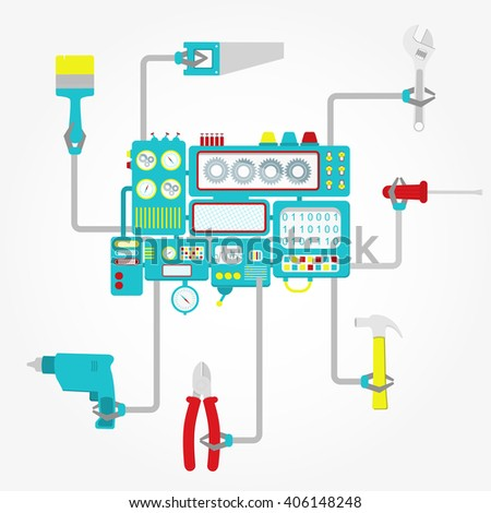 Machine in center with grippers holding tools like hammer, drill, screwdriver, pliers, spanner, saw and brush. Conceptual. - stock vector