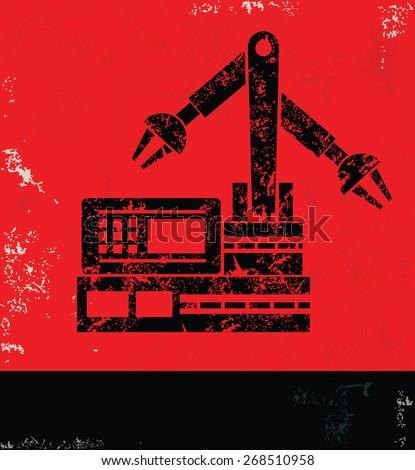 Machine,Industry design on red background,grunge vector - stock vector