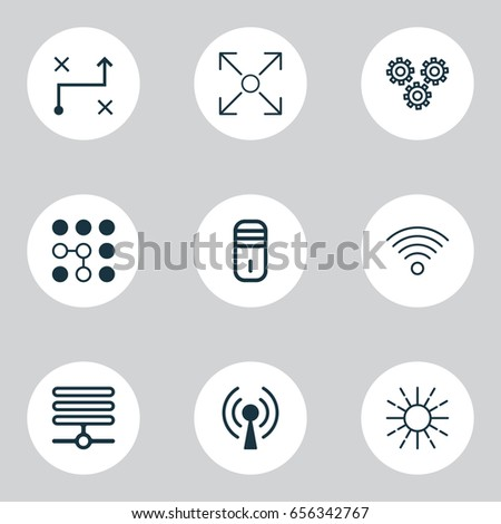 Machine Learning Icons Set. Collection Of Mechanism Parts, Wireless Communications, Lightness Mode And Other Elements. Also Includes Symbols Such As Microprocessor, Wifi, Algorithm.