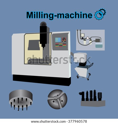 Machine Metal. Industrial operation. milling machine icon.