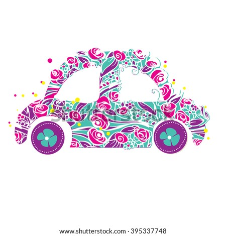 Machine of colors. vector. on a white background. bouquet - stock vector