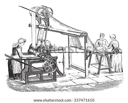 Machine to print the tarot, vintage engraved illustration. Industrial encyclopedia E.-O. Lami - 1875. - stock vector