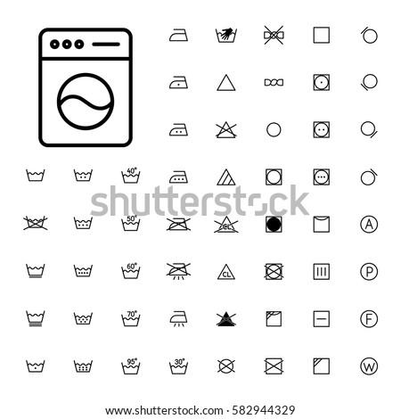 Machine Washing Laundry Symbols Icons Set Stock Vector 582944329