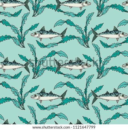 Mackerel Seaweed Seamless Pattern Art Nouveau Stock Vector (2018 ...