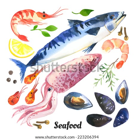 Mackerel. Watercolor set of sea food with trout, salmon and mussels drawn by hand on a white background. - stock vector