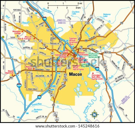 Macon Georgia Area Map Stock Vector 145248616 Shutterstock