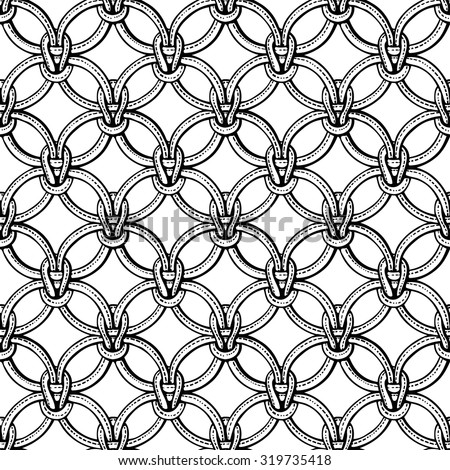 Macrame seamless pattern made of ropes. Vector endless textile background isolated on white. Coloring book pages for adults. - stock vector