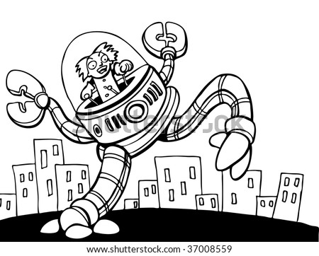 Mad Scientist Attacking City line art - stock vector