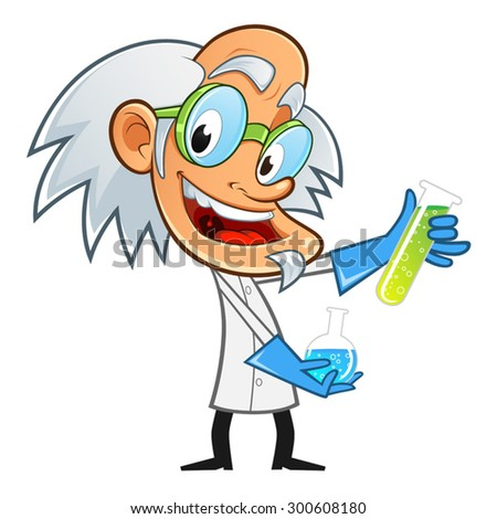 Mad scientist, he is experimenting with chemicals - stock vector