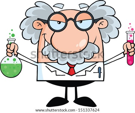 Mad Scientist Or Professor Holding A Bottle And Flask With Fluids - stock vector