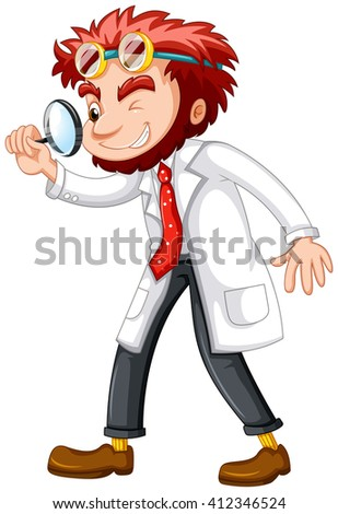 Mad scientist with magnifying glass illustration - stock vector