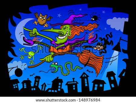 Mad witch, in the middle of a night scene in a silhouetted town with blue sky background, while grinning and taking her frightened owl, spider, snake, frog and cat for a ride in her broomstick