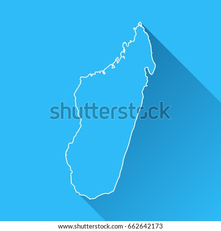 Madagascar Map Long Shadow White Outline Stock Vector - Madagascar map outline