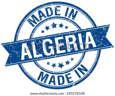 made in Algeria blue round vintage stamp