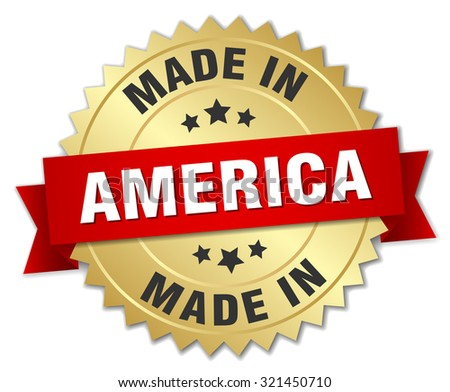 made in America gold badge with red ribbon - stock vector