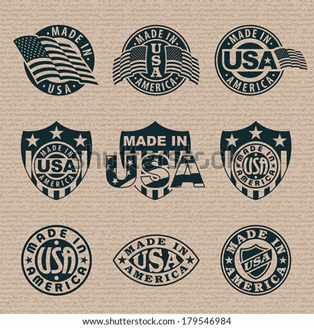 Made in America (USA) - set of stamps, labels. EPS 8, CMYK. - stock vector