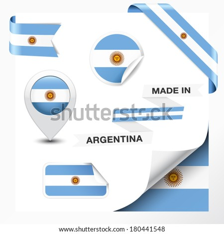 Made in Argentina collection of ribbon, label, stickers, pointer, badge, icon and page curl with Argentinian flag symbol on design element. Vector EPS 10 illustration isolated on white background. - stock vector