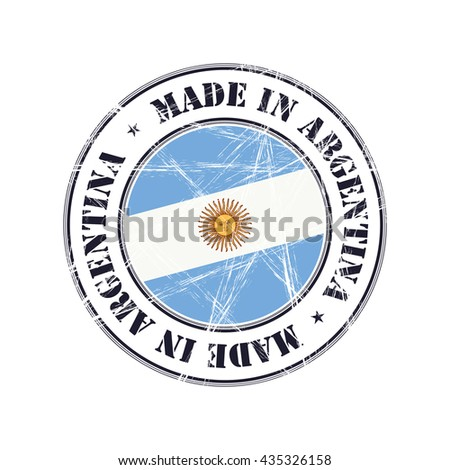 Made in Argentina grunge rubber stamp with flag - stock vector