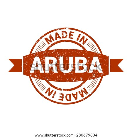 Made in Aruba - Round red grunge rubber stamp design isolated on white background. vector illustration vintage texture. Vector illustration - stock vector