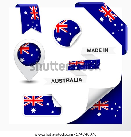 Made in Australia collection of ribbon, label, stickers, pointer, badge, icon and page curl with Australian flag symbol on design element. Vector EPS10 illustration isolated on white background. - stock vector