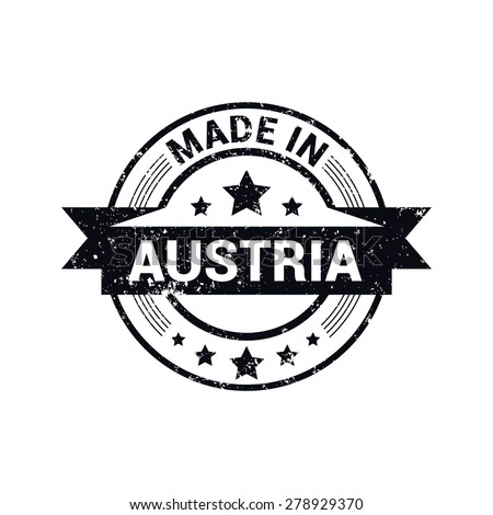 Made in Austria - Round black grunge rubber stamp design isolated on white background. vector illustration vintage texture. - stock vector