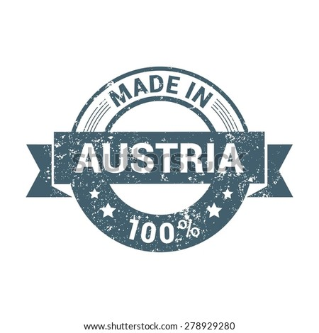 Made in Austria - Round blue grunge rubber stamp design isolated on white background. vector illustration vintage texture. - stock vector