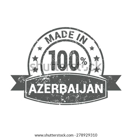 Made in Azerbaijan - Round gray grunge rubber stamp design isolated on white background. vector illustration vintage texture. - stock vector