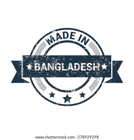 Made in Bangladesh - Round blue grunge rubber stamp design isolated on white background. vector illustration vintage texture. - stock vector