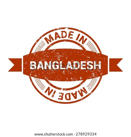 Made in Bangladesh - Round red grunge rubber stamp design isolated on white background. vector illustration vintage texture. - stock vector